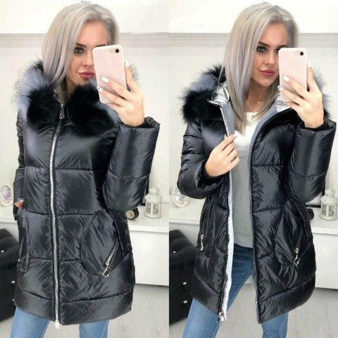 Image of Big Fur Hooded Winter Jacket in black color from Almas Collections