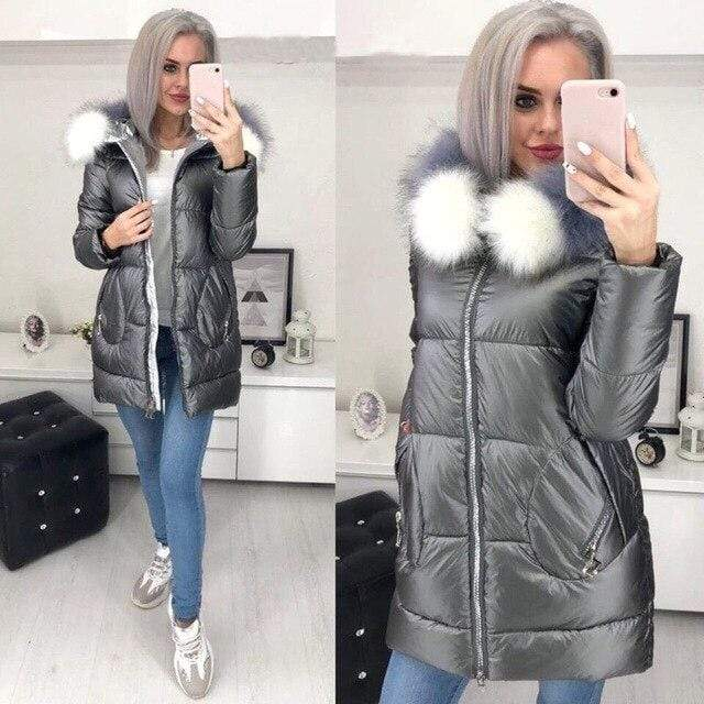 Big Fur Hooded Winter Jacket in Gray  color from Almas Collections