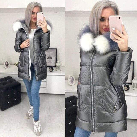 Image of Big Fur Hooded Winter Jacket in Gray  color from Almas Collections