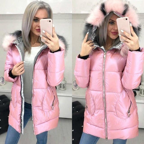 Image of Big Fur Hooded Winter Jacket in pink color from Almas Collections
