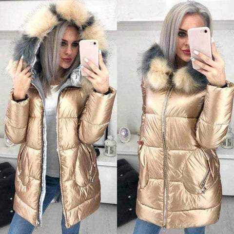 Image of Big Fur Hooded Winter Jacket in champagne color from Almas Collections