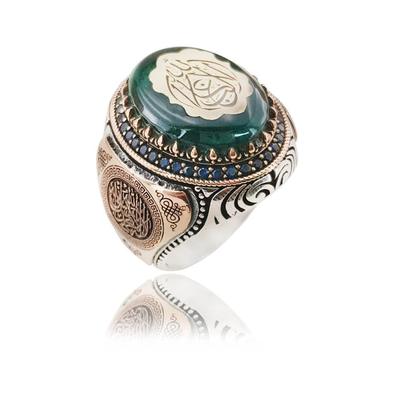 Classic S925 Arab Amber Aqeeq Stone Ring from Almas Collections