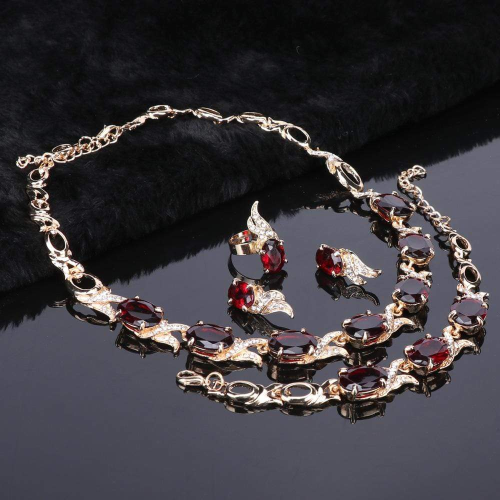 Bridal Red Crystal Silver jewelry Set
