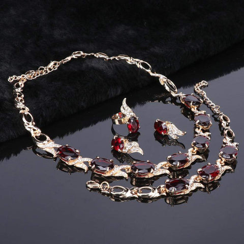 Image of Bridal Red Crystal Silver jewelry Set