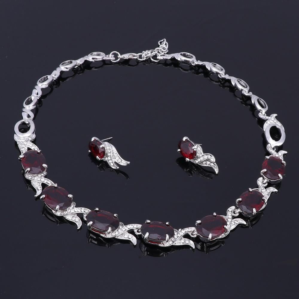 Wedding Red Crystal Silver jewelry Bracelet with earrings from Almas Collections