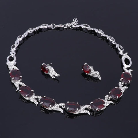 Image of Wedding Red Crystal Silver jewelry Bracelet with earrings from Almas Collections
