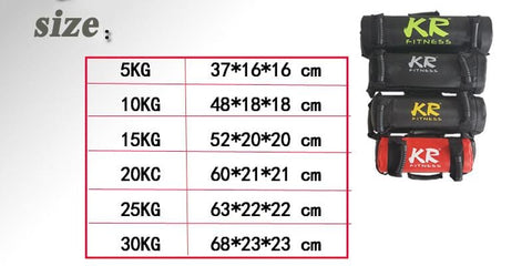 Gym Strength Training Weight Power Bag size chart