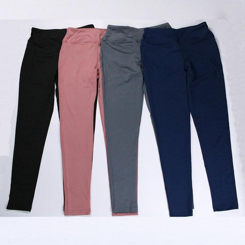 Image of Women's High Waist Yoga Pants in black, pink, grey and blue colors from Almas Collections