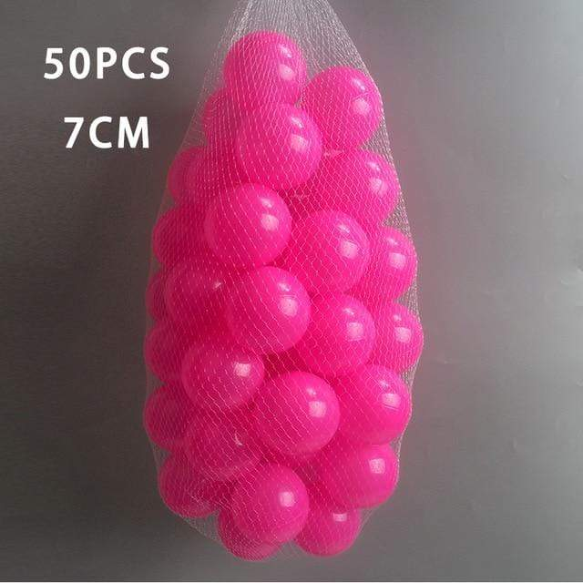 50 Pcs 7cm Shocking Bright Pink Ball Pit Plastic Balls