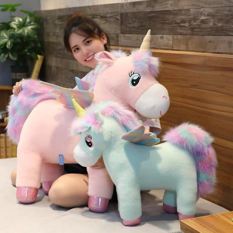 Image of Glowing Winged Unicorn Plush Toy in Largets and small size from Almas Collections