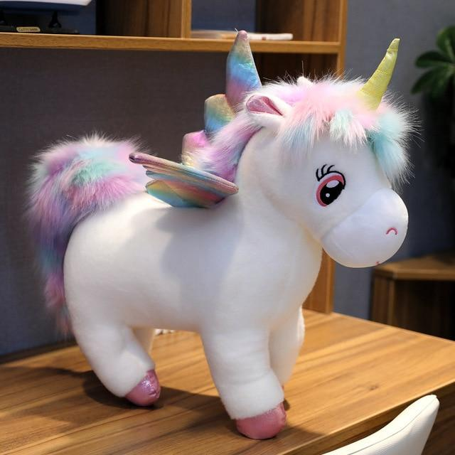 Glowing Winged Unicorn Plush Toy in white color from Almas Collections