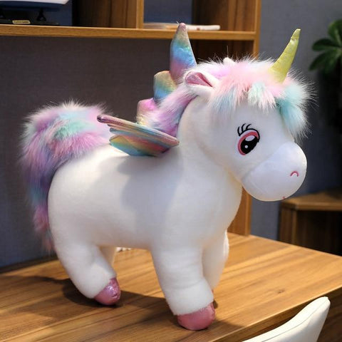 Image of Glowing Winged Unicorn Plush Toy in white color from Almas Collections