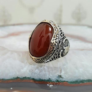 Turkish Made 925 Sterling Silver Agate Stone Men Ring from Almas Collections