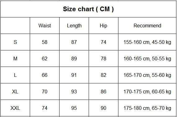 Women's High Waist Yoga Pants size chart from Almas Collections