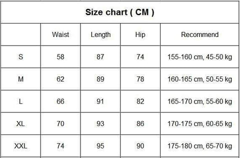 Image of Women's High Waist Yoga Pants size chart from Almas Collections