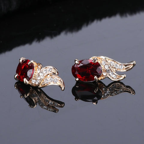 Image of Wedding Red Crystal Gold Earring