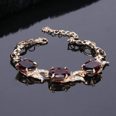 Image of Wedding Red Crystal Gold jewelry bracelet