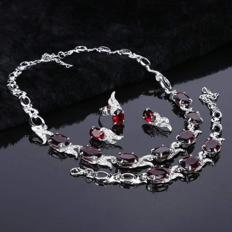 Image of Wedding Red Crystal Silver jewelry Set