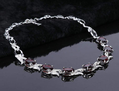 Image of Wedding Red Crystal Silver necklace from Almas Collections