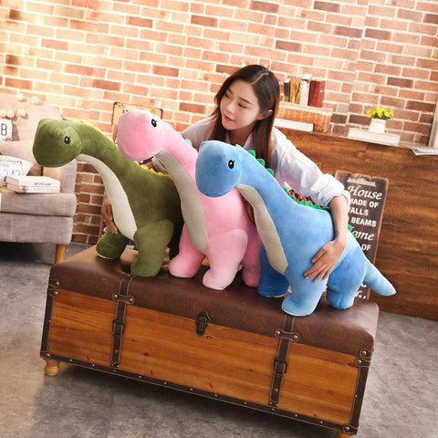 Image of Plush Dinosaur Toys in Pink, Green and Blue colors from Almas collections