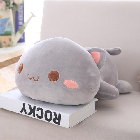 Image of Cute Cat Plush Toy in gray color