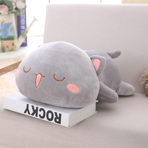 Image of Cute Cat Plush Toy in grey color