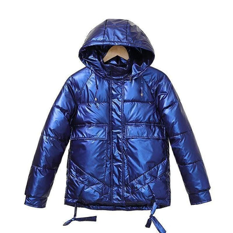 Image of Winter Short Parkas Jackets in blue from Almas Collections