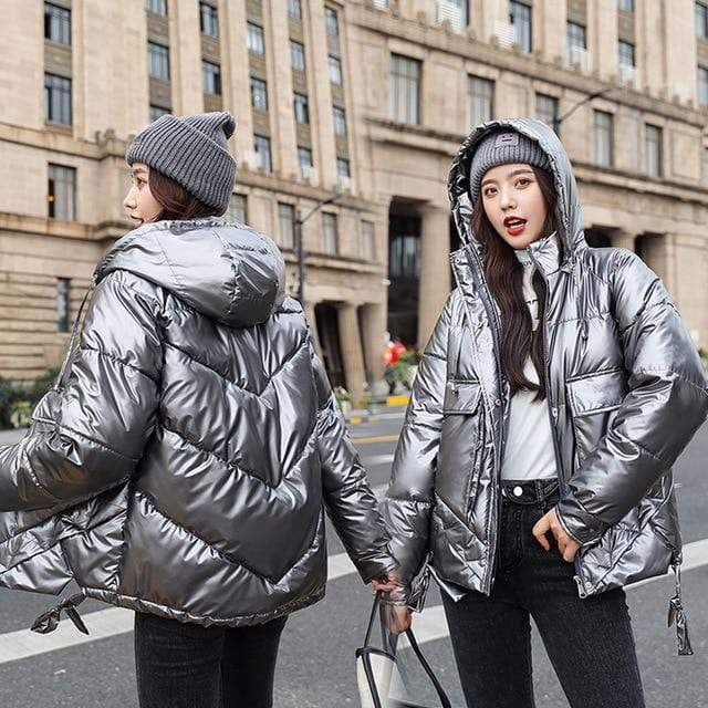 Winter Short Parkas Jackets in Gray from Almas Collections