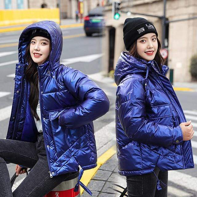 Winter Short Parkas Jackets in royal blue from Almas Collections
