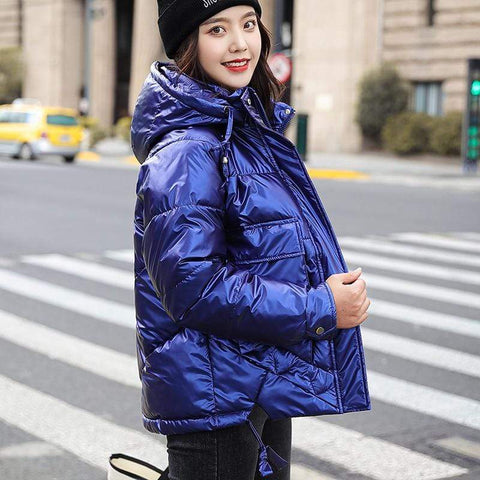 Image of Winter Short Parkas Jackets in royal blue from Almas Collections
