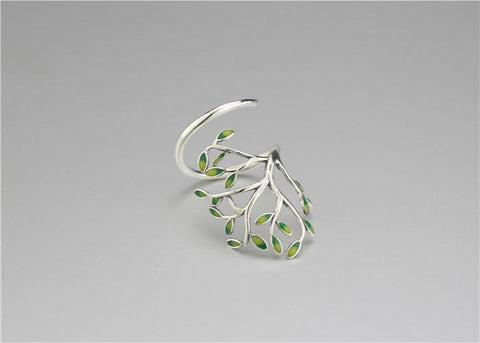 Image of New Almas Collections Real 925 Sterling Silver Drop Glaze Leaves Original Ring NS3 VAL1 Almas Collections  New Almas Collections Real 925 Sterling Silver Drop Glaze Leaves Original Ring