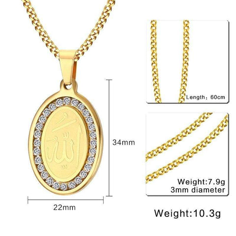 4 QUL and Allah Rhinestone Stainless Steel Gold Tone Oval Necklace Pendant chain info from Almas Collections