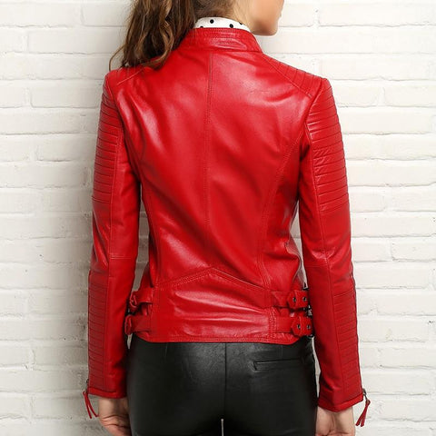 Image of New Biker Genuine Short Slim Leather Jackets red, back view worn by model from Almas Collections