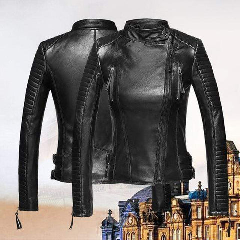 Image of New Biker Genuine Short Slim Leather Jackets in black from Almas Collections