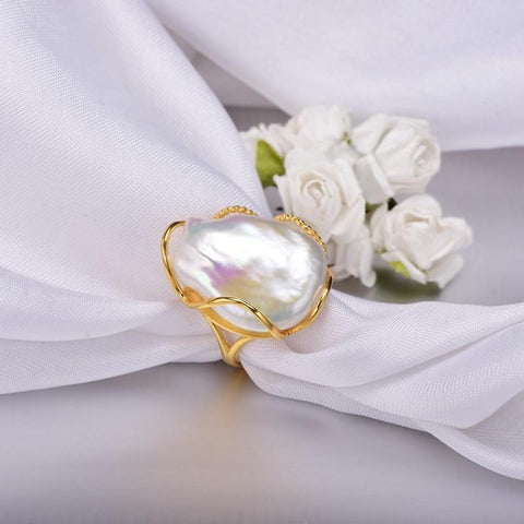 Image of New Vintage Unique Natural  Baroque Irregular Pearl 925 Silver Ring IS1 IS2 VAL Almas Collections  ring
