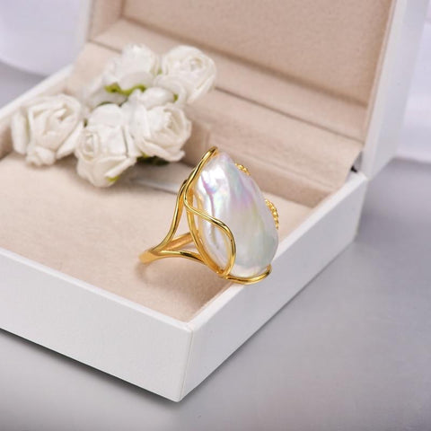 Image of New Vintage Unique Natural  Baroque Freshwater Pearl 925 Silver Ring from Almas Collections