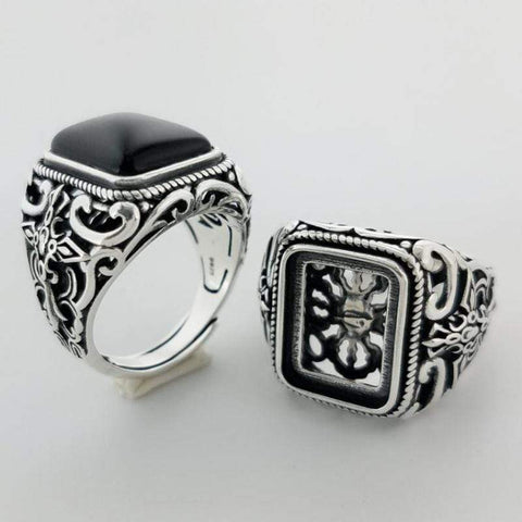 Image of New Vintage Black Onyx Stone Real 925 Sterling Silver Ring For Men NS3 IS1 | Almas Collections |