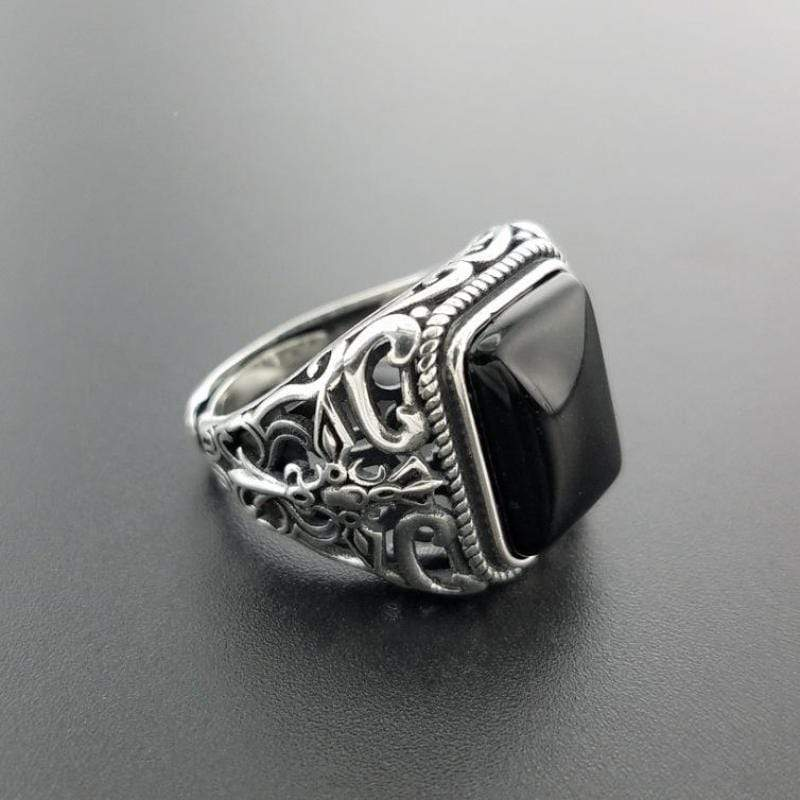 New Vintage Black Onyx Stone Real 925 Sterling Silver Ring For Men NS3 IS1 | Almas Collections |
