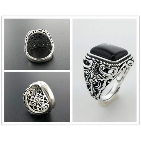 Image of New Vintage Black Onyx Stone Real 925 Sterling Silver Ring For Men NS3 IS1 Almas Collections  New Vintage Black Onyx Stone Real 925 Sterling Silver Ring For Men
