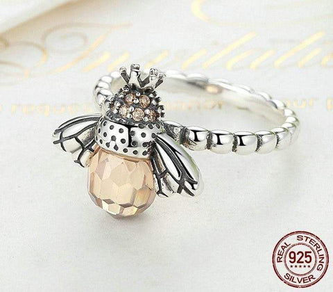 New 925 Sterling Silver Orange Bee Ring NS1 NS3 - Almas Collections