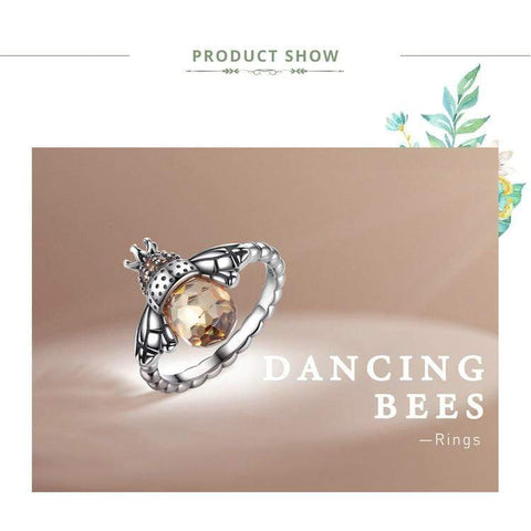 Image of New 925 Sterling Silver Orange Bee Ring NS1 NS3 | Almas Collections |
