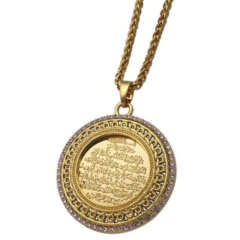 Image of New AYATUL KURSI crystal Pendant necklace for Men and Women NS2 IS1 IS2 Almas Collections  New AYATUL KURSI crystal Pendant necklace for Men and Women