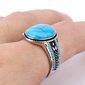 New Men Oval Sky Blue Stone Life 925 Sterling Silver Ring IS1 NS3 Almas Collections  New Men Oval Sky Blue Stone Life 925 Sterling Silver Ring