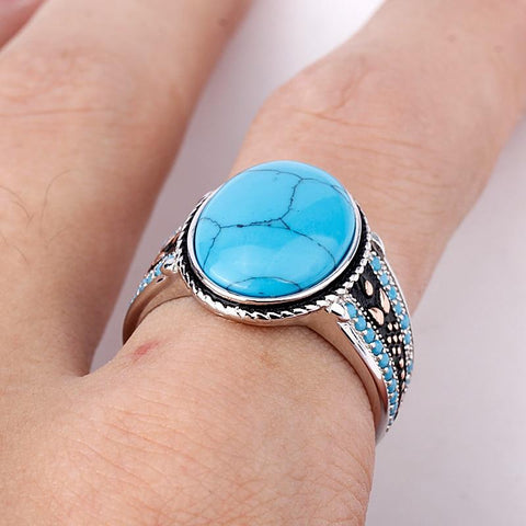 New Men Oval Sky Blue Stone Life 925 Sterling Silver Ring IS1 NS3 | Almas Collections |