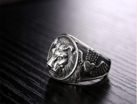 Image of Real Vintage 925 Sterling Silver Lion Ring for Men by Almas Collections NS3 Almas Collections  Real sterling silver ring for men