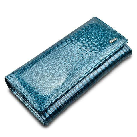 Image of New Luxury Genuine Leather Ladies Clutch Alligator design H1 Almas Collections  New Luxury Genuine Leather Ladies Clutch Alligator design