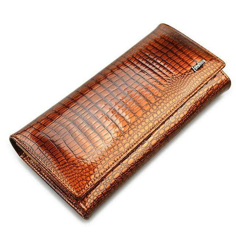 Image of New Luxury Genuine Leather Ladies Clutch Alligator design H1 | Almas Collections |