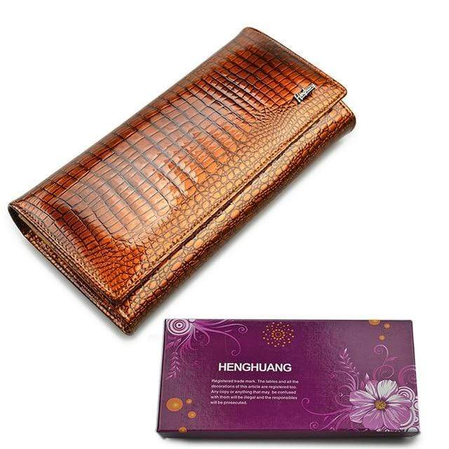 New Luxury Genuine Leather Ladies Clutch Alligator design H1 | Almas Collections |