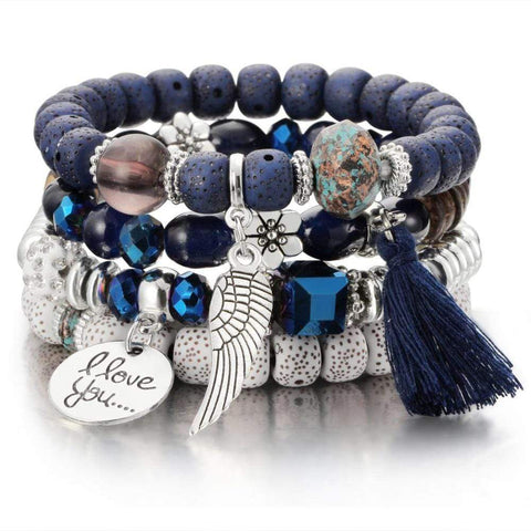 New Vintage Bohemia Crystal and Natural Stone Bead Bracelets VAL1 NS3 | Almas Collections |