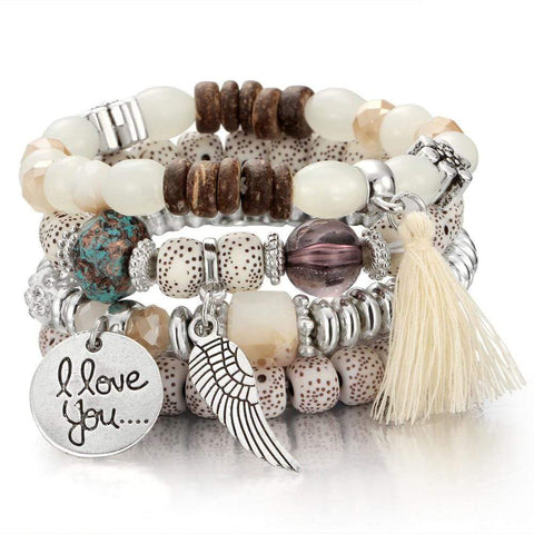 New Vintage Bohemia Crystal and Natural Stone Bead Bracelets VAL1 NS3 - Almas Collections